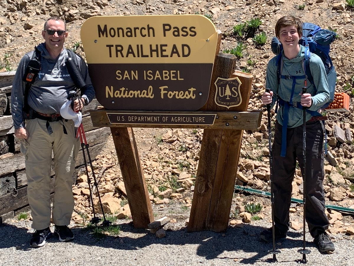 Peter and Samuel, looking clean and fresh at Monarch Pass trailhead, at the beginning of their adventure.